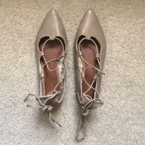 Pointed toe lace up flats